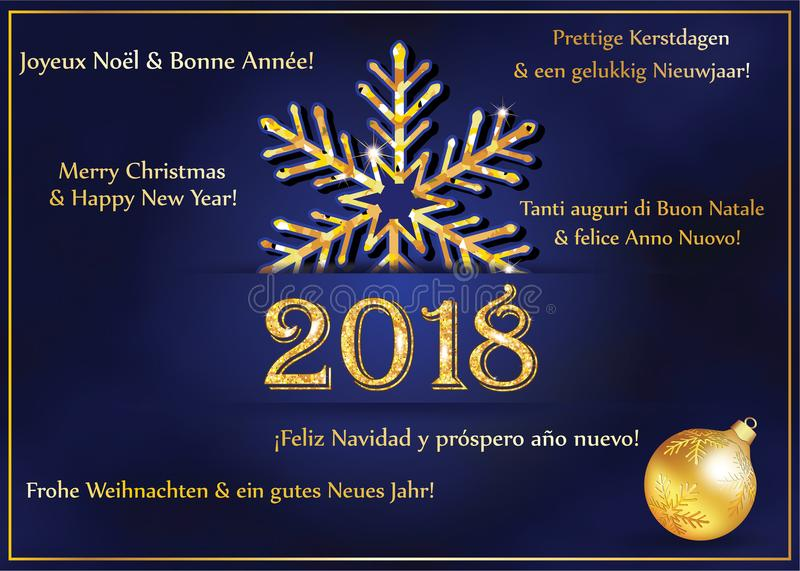 Happy New Year 2018 written in many languages. Greeting card for the winter holidays season. Happy New Year 2018 written in many languages English, french royalty free illustration