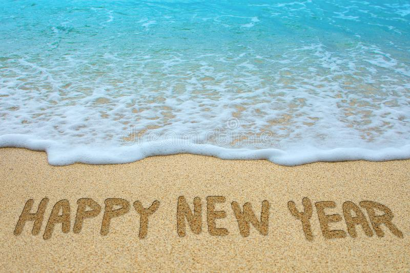 Happy New Year Written In Beach Stock Image - Image of ...