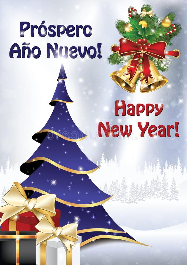 Happy New Year written in Spanish and English - greeting card. Classic New year greeting card - Happy New Year written in Spanish and English, with Christmas royalty free illustration