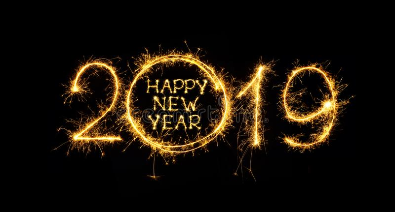 Happy New Year 2019 written sparklers on black background vector illustration