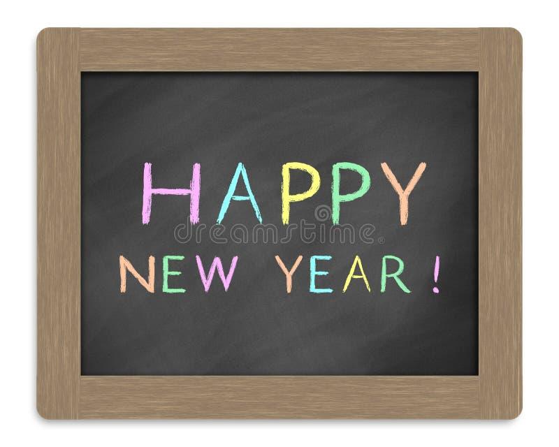 Happy new year. Written by white chalk on blackboard stock photo