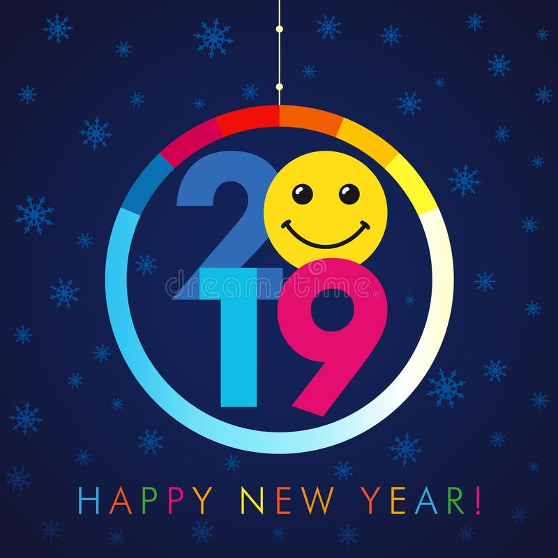 2019 A Happy New Year xmas greetings. Colored snowy winter background, smiling null, isolated 20, 9 and 0 bright numbers. Seasonal discount digits % percent off stock illustration