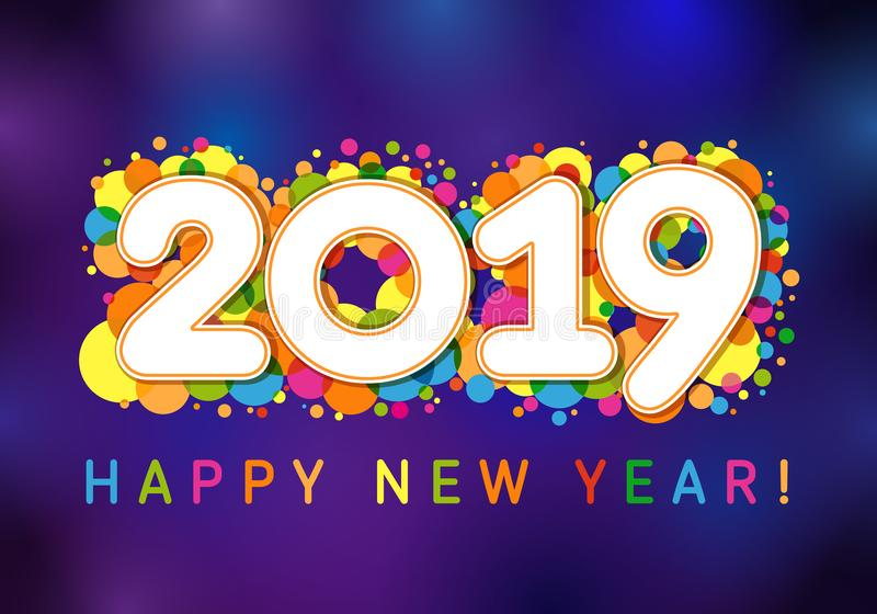 2019 Happy New Year xmas greetings. Dark blue background, milti colored confetti, isolated bright white numbers, celebrating congratulating vector template