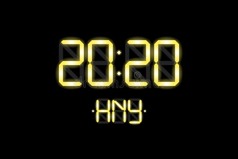 Happy New Year xmas-kaart met lcd-kloknummers voor elektronisch beeldscherm 2020 en HNY gouden letters op zwarte achtergrond royalty-vrije stock fotografie