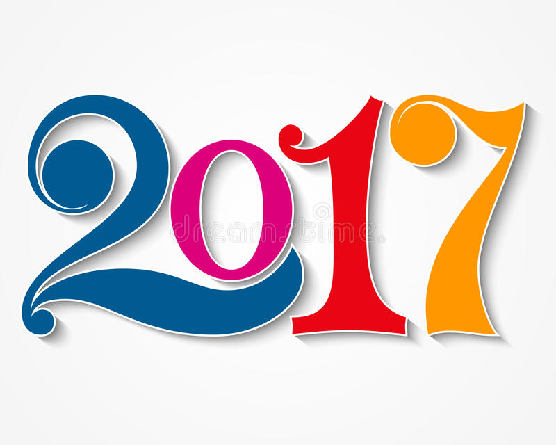 Happy new year 2017. Year 2017 design element. stock images