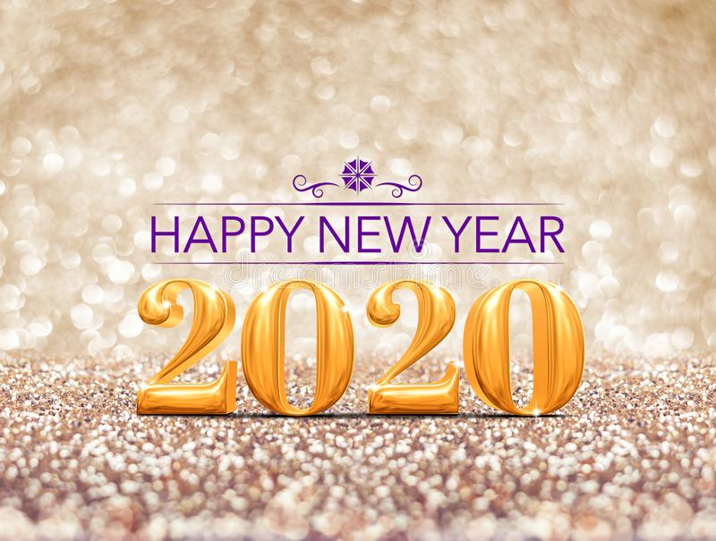 Happy new year 2020 year gold number  3d rendering  at sparkling golden glitter studio background ,Holiday Greeting card.Banner stock images