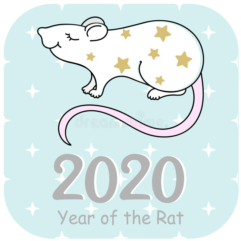 Rat Vector illustration. Happy new year 2020. Year of the Rat. royalty free stock photo