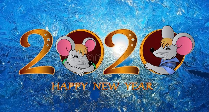 Happy New Year. 2020 is the year of the rat stock illustration