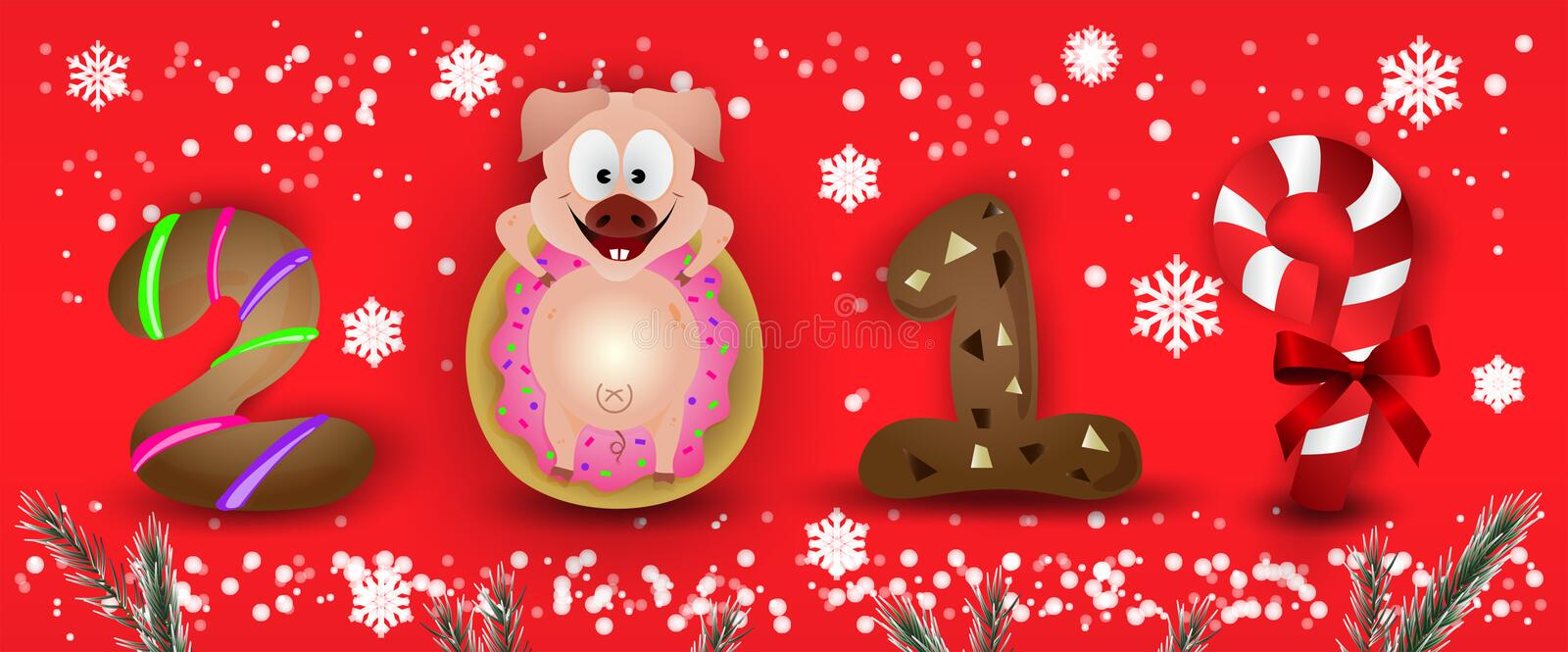 Happy New Year 2019 zodiac pig characters cute with snowflakes & fir royalty free stock images