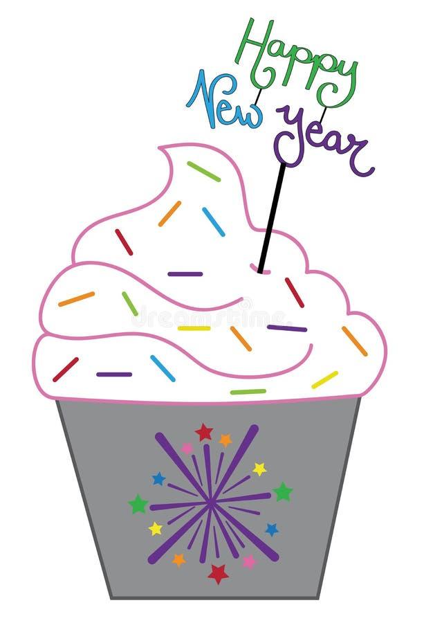 Happy New Years Firework Cupcake stock illustration