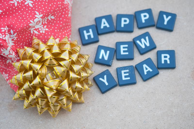Happy New years with gold bow gift box. Concept background for happy new year stock photography