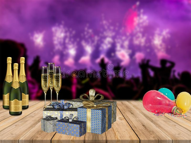 Happy new years party table with champagne presents and balloons with partying crowd and fireworks background. Happy new years a party table with champagne stock image