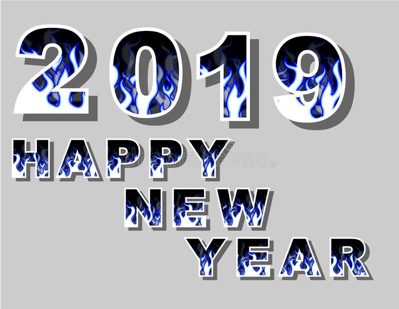 2019 happy new yeart fire flame royalty free illustration