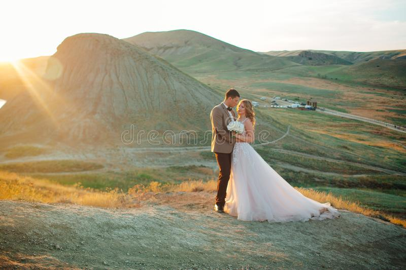 Happy newlywed couple. Beautiful bride and groom in a suit. stock photography