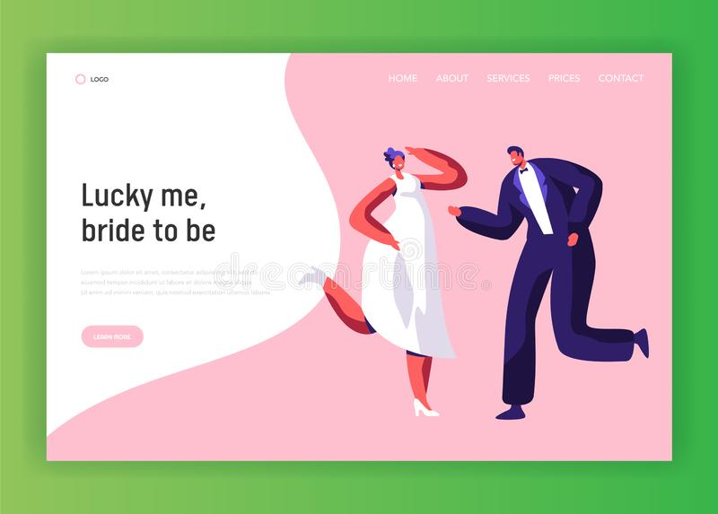 Happy Newlywed Couple Dance Wedding Party vector illustration