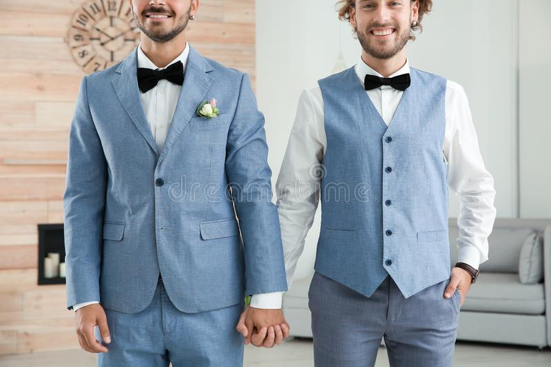 Happy newlywed gay couple in suits royalty free stock images