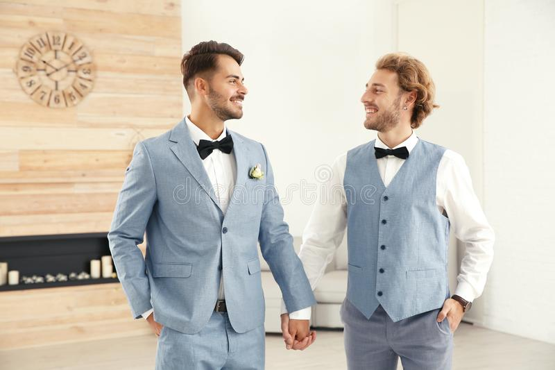 Happy newlywed gay couple in suits stock photo
