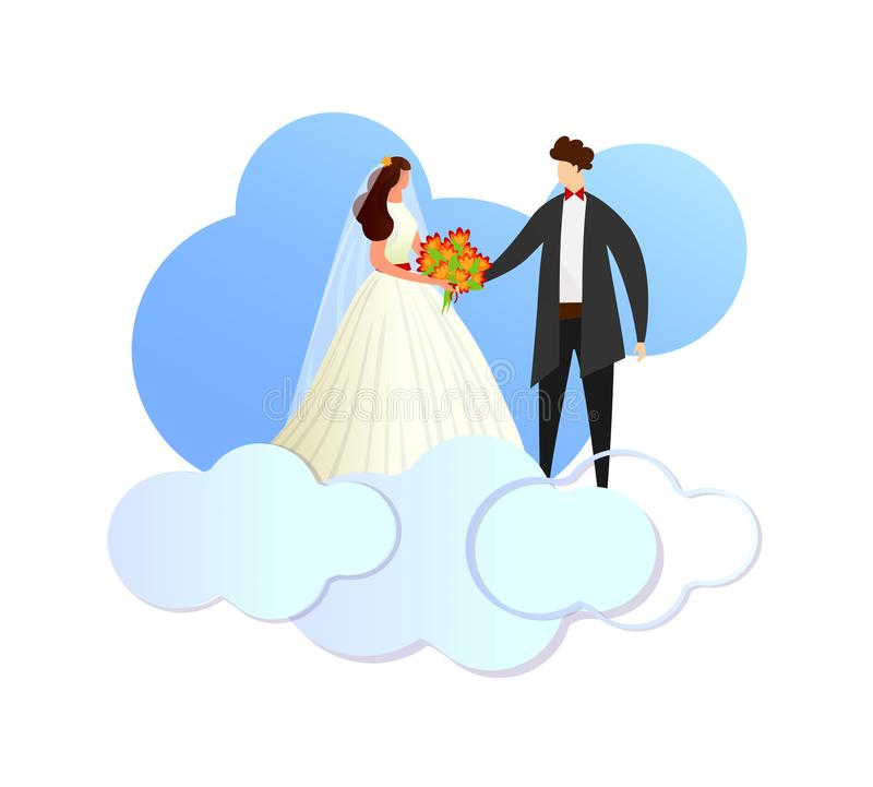 Happy Newlywed Loving Couple Standing on Clouds. vector illustration