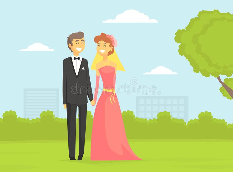 Happy Newlyweds Couple, Romantic Bride and Groom Characters on Summer Natural Landscape Vector Illustration vector illustration