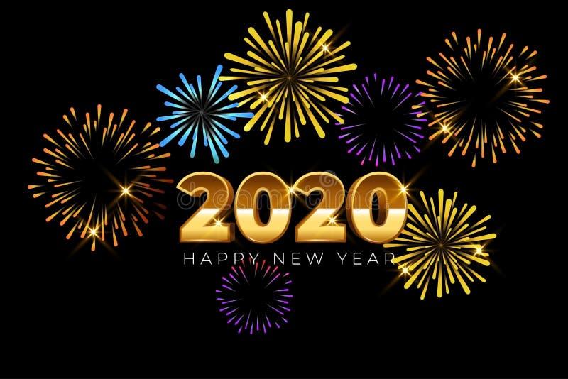 Happy Nieuwjaar 2020-kaartontwerp met vuurwerk stock illustratie