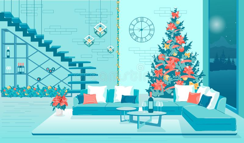 Happy Nieuwjaar Modern Living Room Flat Interior royalty-vrije illustratie