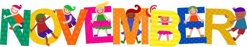 Happy November Kids Title Text vector illustration