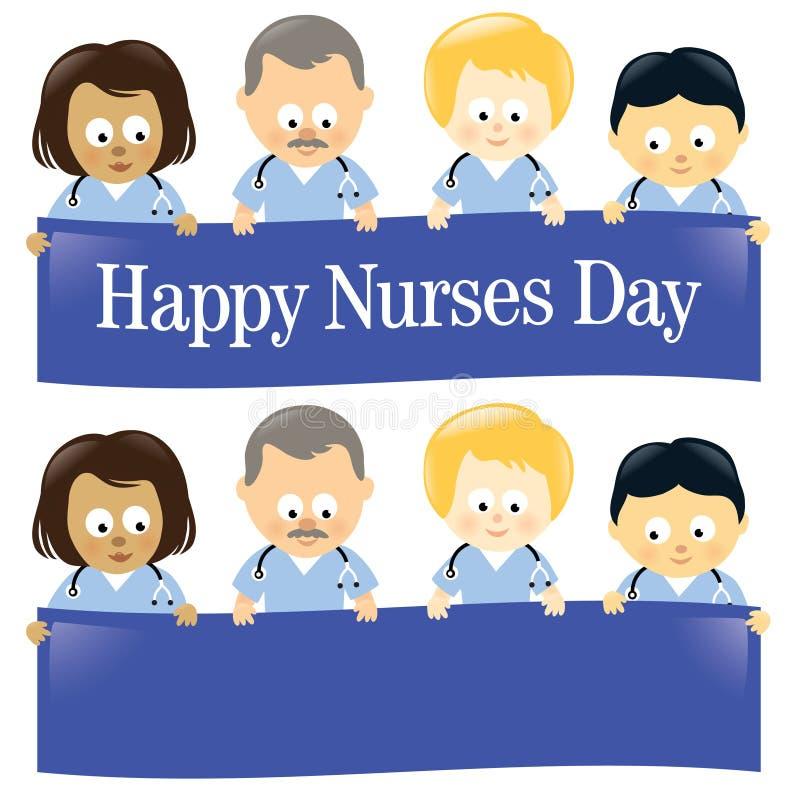 Happy Nurses Day Isolated. Illustration of multi-ethnic nurses holding sign royalty free illustration