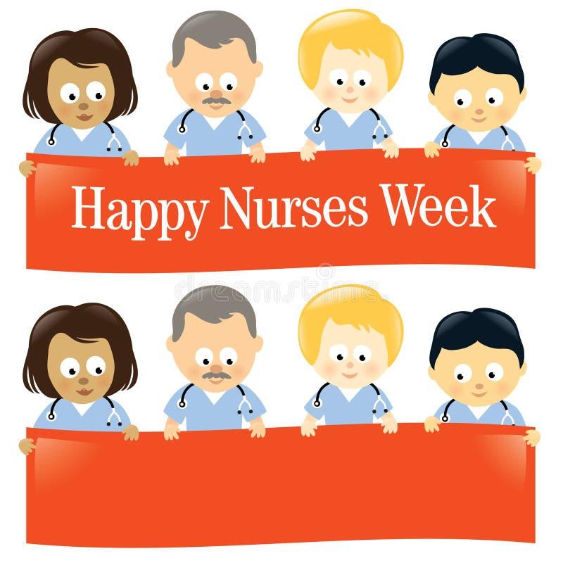Happy Nurses Week Isolated. Illustration of multi-ethnic nurses holding sign vector illustration