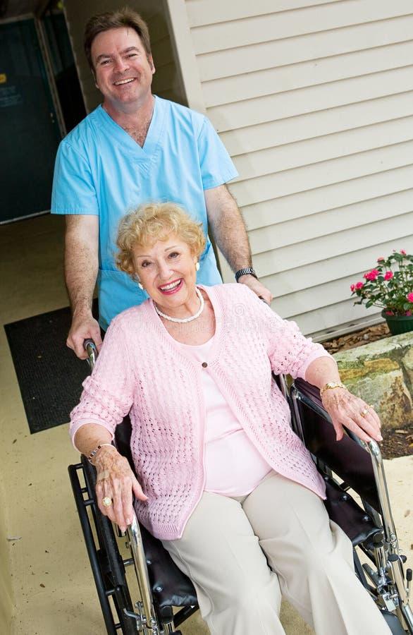Happy Nursing Home Resident stock image