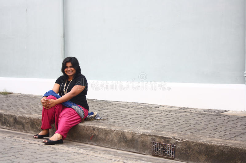 Download Happy Obese Lady Relaxing After Morning Walk Stock Image - Image: 20800901