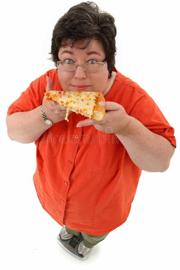 Happy Obese Woman on Scale with Pizza royalty free stock photos
