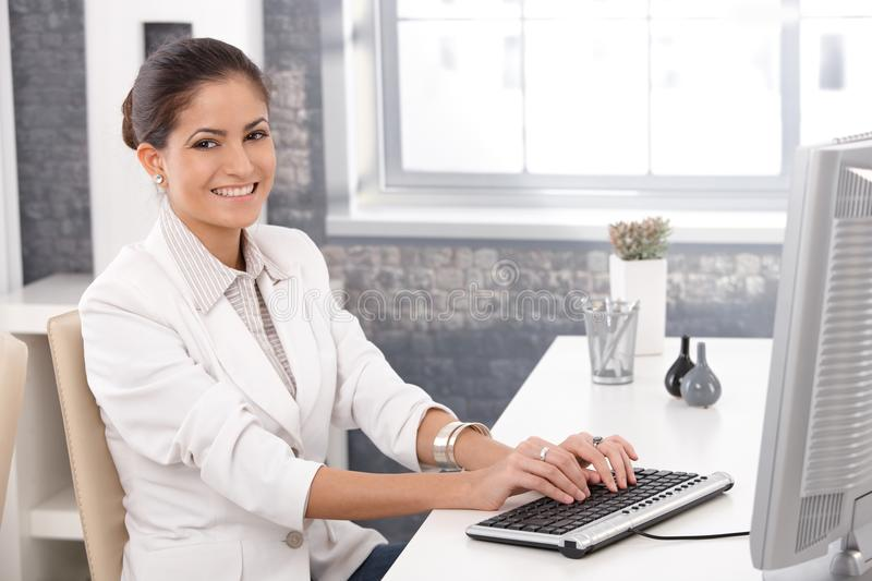 Download Happy Office Girl Working On Computer Stock Image - Image: 26802021