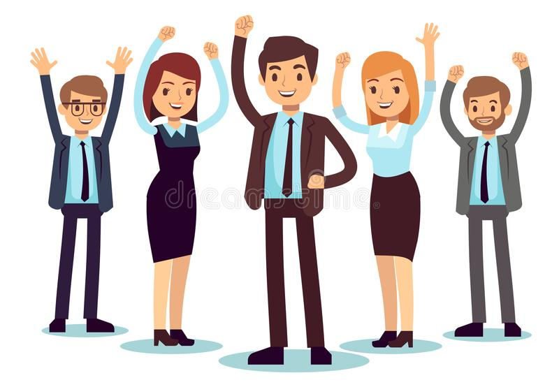 Happy office people. Successful business man and woman vector character stock illustration