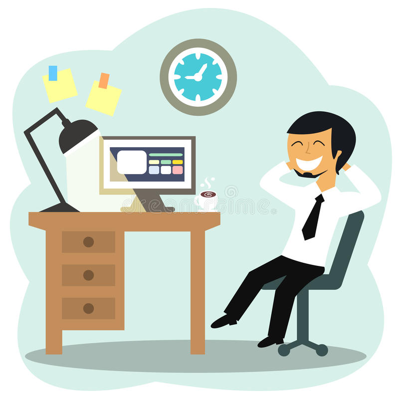Happy office worker. At the desk vector illustration royalty free illustration