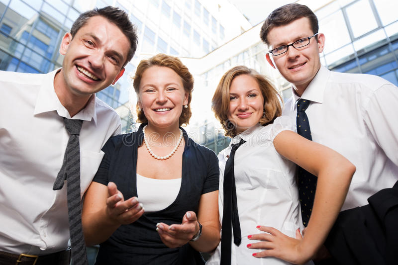 Happy office workers. Stay outdoor stock photo