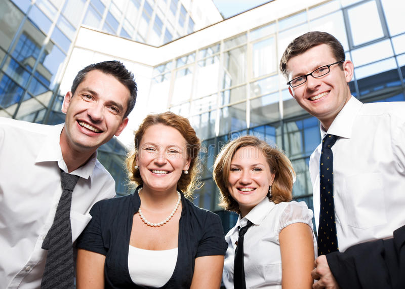 Happy office workers. Stay outdoor royalty free stock photo