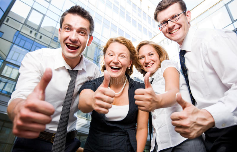 Happy office workers. Stay outdoor stock images