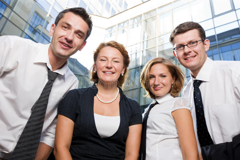 Happy office workers. Stay outdoor stock photography