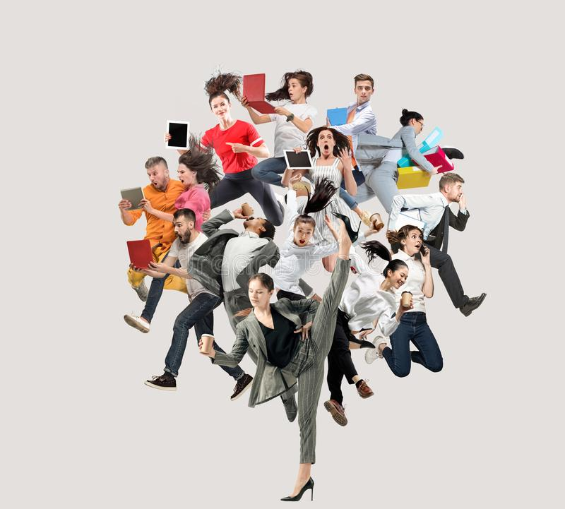Office workers or ballet dancers jumping on white background stock image