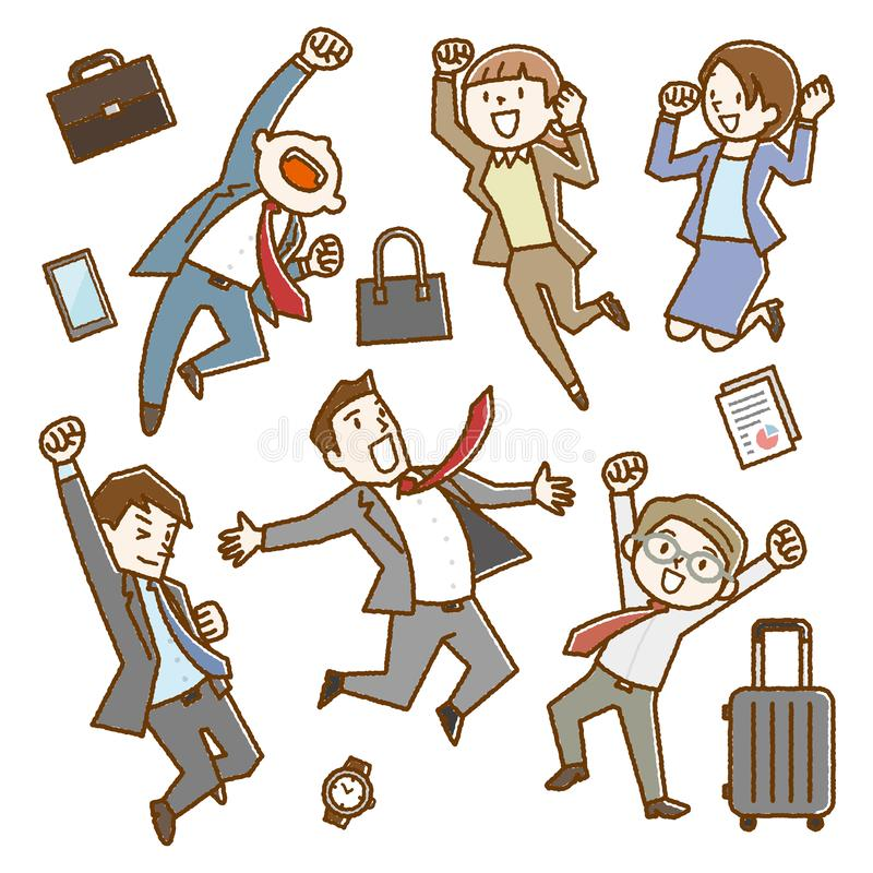 Happy Office Workers Jumping up stock illustration
