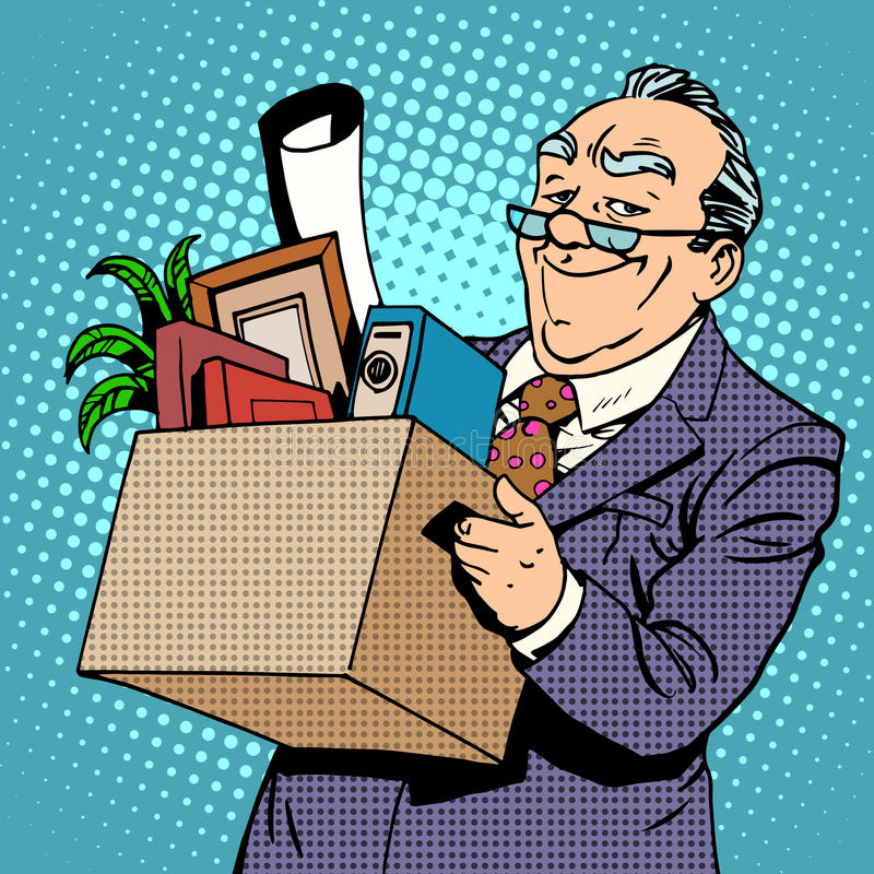 Happy old businessman pension. Happy old businessman goes from the office to a pension stock illustration