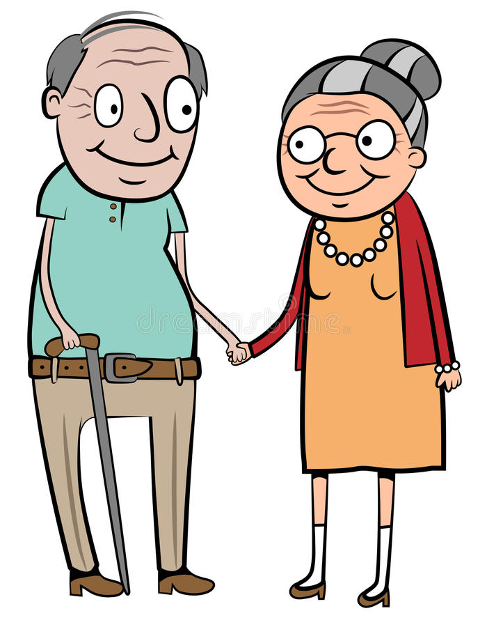 Happy old couple. Vector illustration of a happy old couple holding hands royalty free illustration