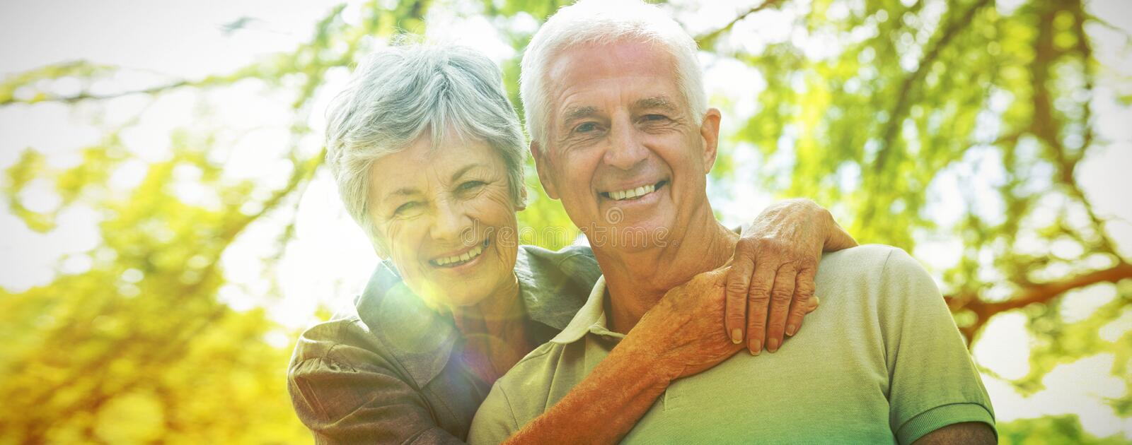 Happy old couple smiling stock photos