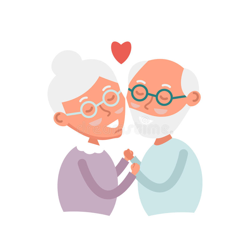 Happy old couple together. Cute Seniors couple in love. grandparents holding hands. Happy grandparents day. Vector Illustration. Happy old couple together. Cute stock illustration