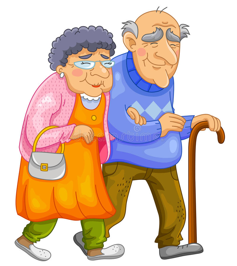 Happy old couple vector illustration
