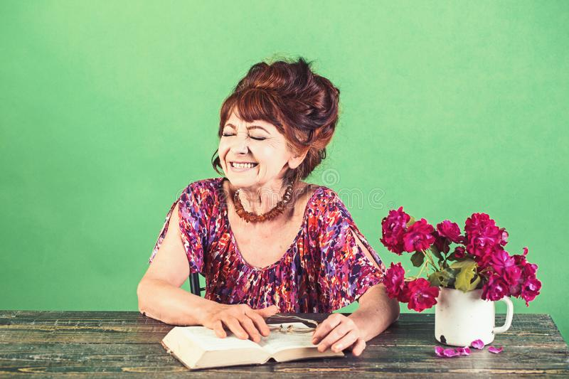 Happy old lady or grandmother stock photography