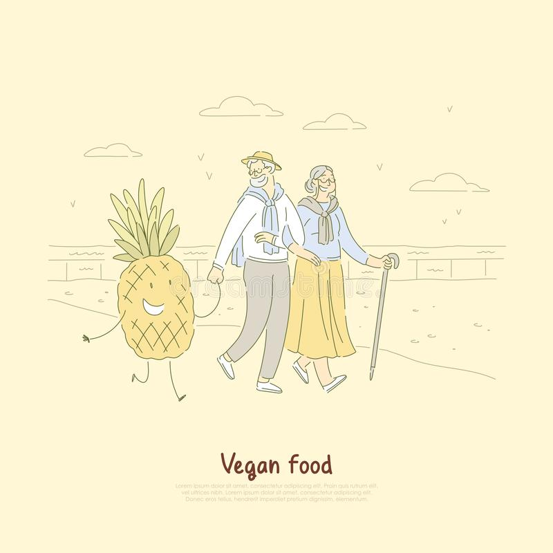 Happy old man and woman on walk, seniors couple holding hands with smiling pineapple, vegetarian food banner royalty free illustration