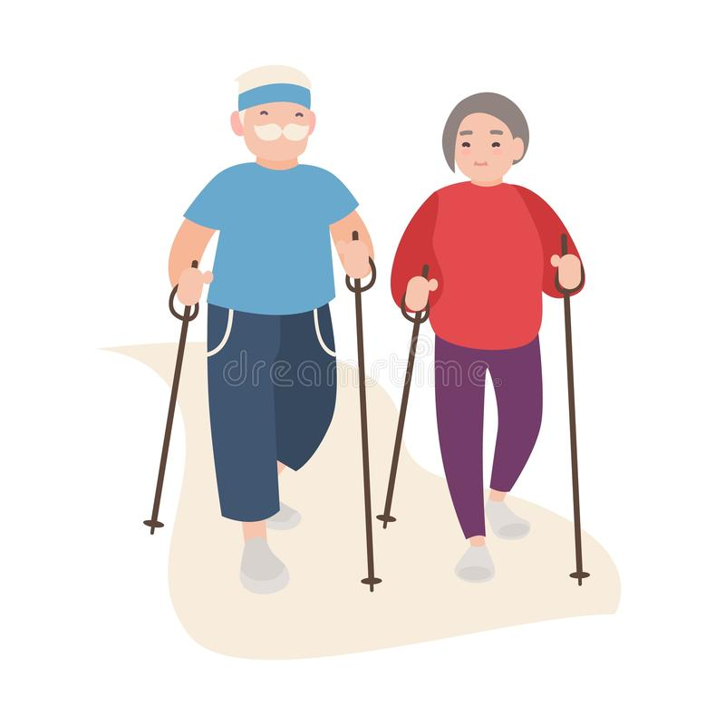 Happy old men and women dressed in sports clothing performing nordic walking. Healthy outdoor activity for elderly. People. Flat cartoon characters isolated on royalty free illustration