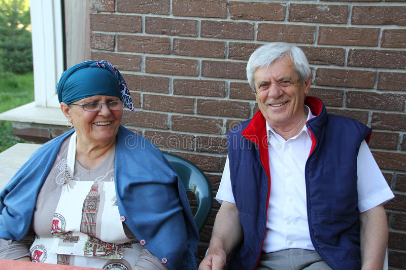 Happy old turkish couple royalty free stock images
