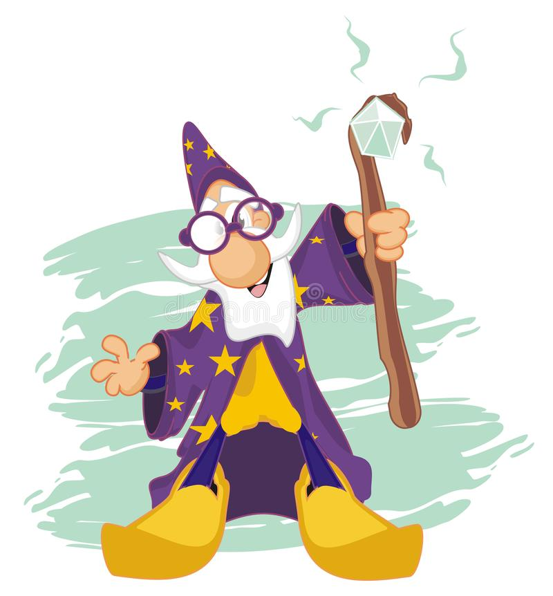 Wizard and blue background vector illustration